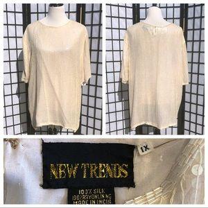 💿100% silk beaded sequin vintage blouse